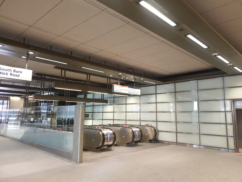 Bomb blast glazing and ceiling raft system installed within the new entrance at London's Waterloo Underground Station